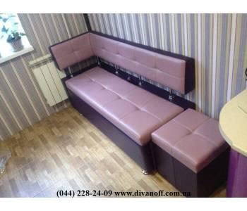 Угловой кухонный маленький диван Бастион с боковой спинкой