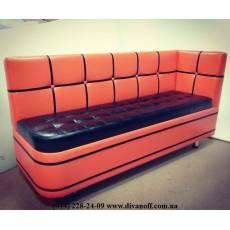 Маленький диван Квадро с угловой спинкой, радиусом и утяжками