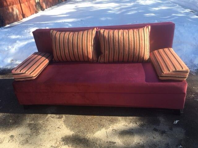 диван Вираж ткань бордо + полоса