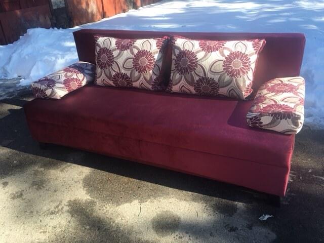 диван Вираж ткань бордо + цветок