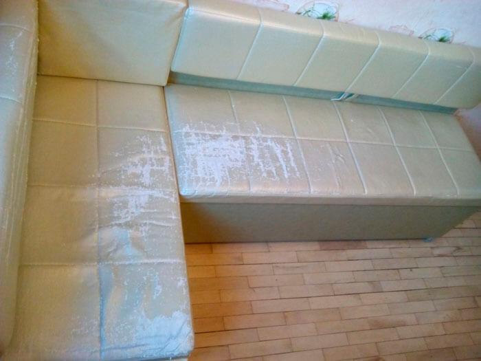 Перетяжка мебели, кухонного уголка в кожзам