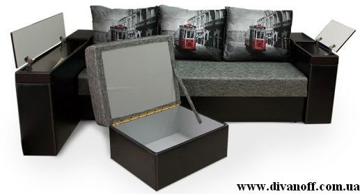 Угловой диван с ящиком и пуфом