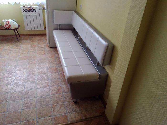 Кухонная лавка №777 прошитая с боковой спинкой