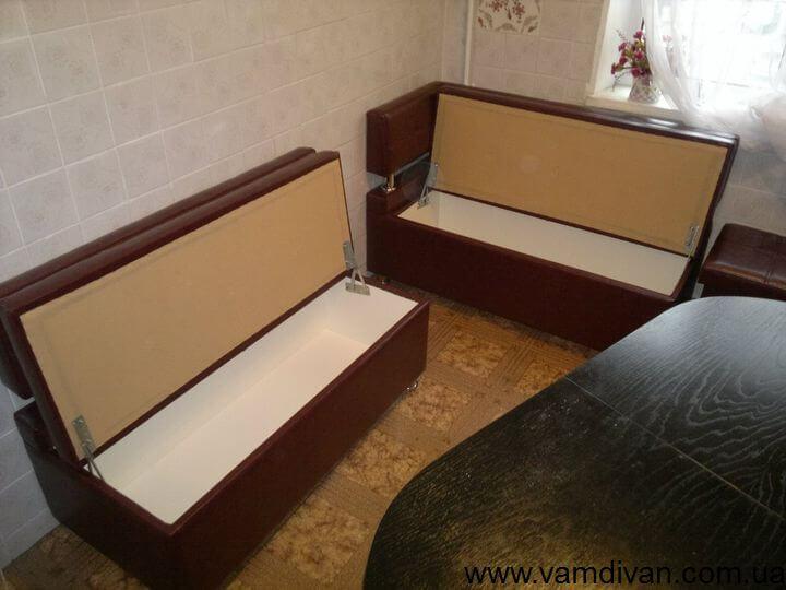 кухонный угол для кухни с ящиками